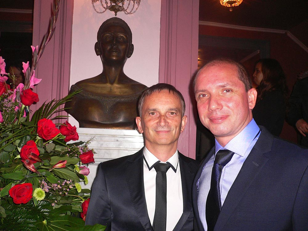 Vasily Medvedev and Stanislav Feco in front of a bust of Margot Fonteyn at the National Theatre.<br />© Margaret Willis. (Click image for larger version)