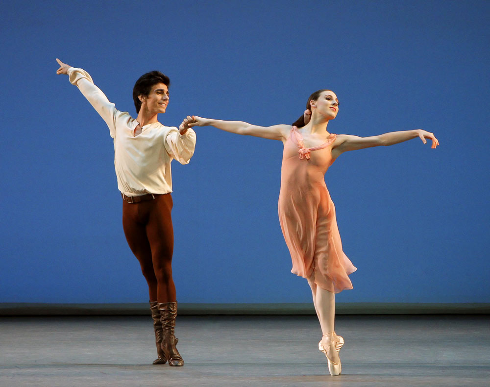 """Joaquin de Luz as the """"boy in brown"""" and Tiler Peck as the """"girl in pink"""" in Jerome Robbins' Dances at a Gathering.© Paul Kolnik. (Click image for larger version)"""
