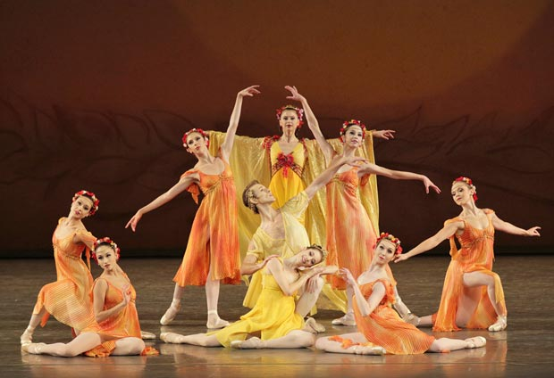 """Rebecca Krohn, Adrian Danchig-Waring and ensemble in """"Summer"""" from Jerome Robbins' <I>The Four Seasons</I>.<br />© Paul Kolnik. (Click image for larger version)"""