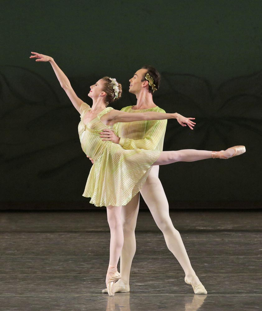 """Sterling Hyltin and Tyler Angle in """"Spring"""" from Jerome Robbins' The Four Seasons.© Paul Kolnik. (Click image for larger version)"""