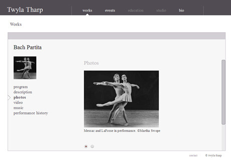 """The Twyla Tharp website has a comprehensive page about each of her ballets - a splendid resource. Click on the picture to be taken through to <a href= """"http://www.twylatharp.org/content/bach-partita?qt-world_premier=2#qt-world_premier"""">www.twylatharp.org</a> and the full interactive page. © Twyla Tharp."""