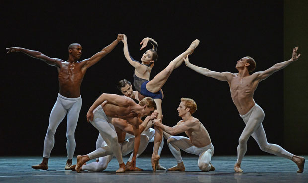 David Dawson's <I>The Human Seasons</I>: Eric Underwood, Melissa Hamilton, Edward Watson, in front - Dawid Trzensimiech, Steven McRae (Johannes Stepanek peeps through).<br />© Dave Morgan, by kind permission of the Royal Opera House. (Click image for larger version)