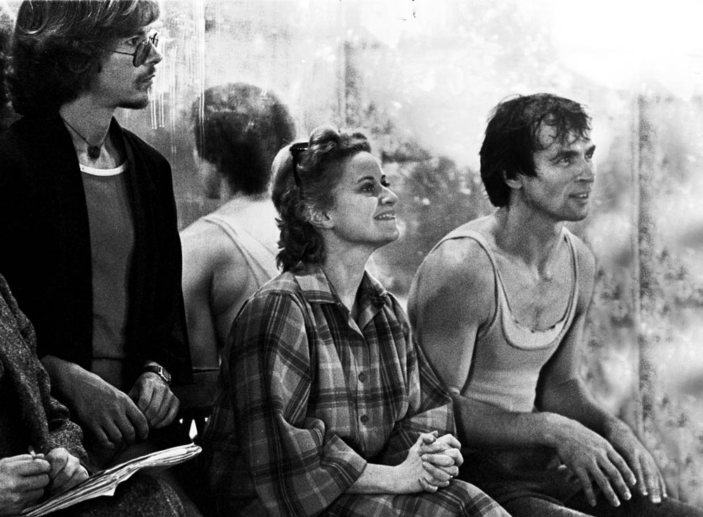 Rudolf Nureyev during a rehearsal of <I>Manfred</I> at the Paris Opera; Violette Verdy to his right.<br />© Francette Levieux. (Click image for larger version)