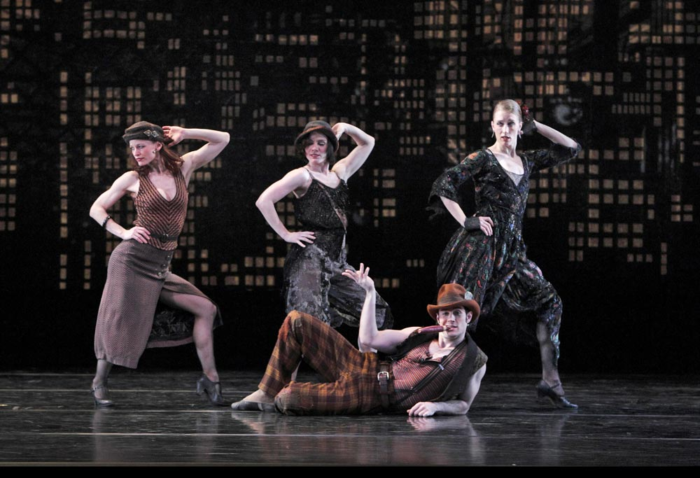 Annmaria Mazzini, Eran Bugge, Robert Kleinendorst and Amy Young in Black Tuesday.© Paul B. Goode. (Click image for larger version)