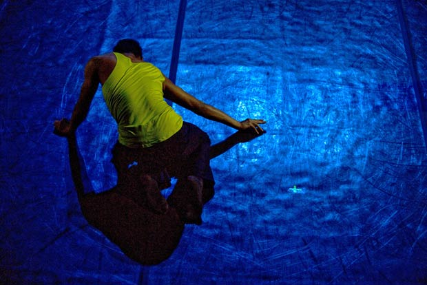 Christopher Bordenave in Idan Sharabi's <I>Spider on a Mirror</I>.<br />© Sandy Lee. (Click image for larger version)