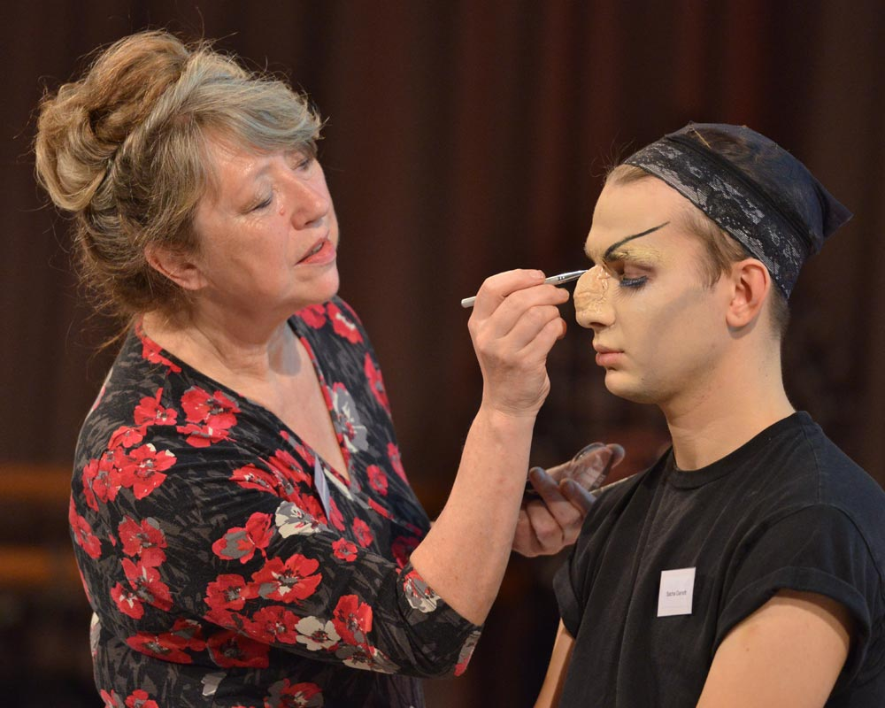 Joyce Beagarie recreating an extravagant Helpmann make-up.© Brian Slater. (Click image for larger version)