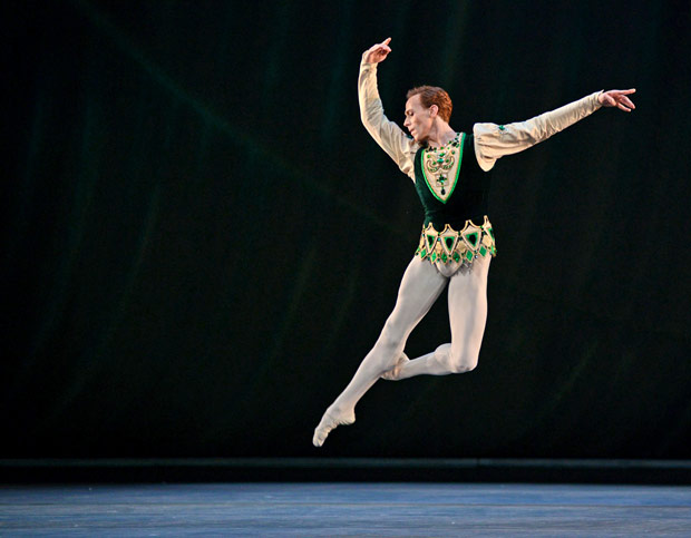 Edward Watson in <I>Emeralds</I>, part of <I>Jewels</I>.<br />© Dave Morgan, by kind permission of the Royal Opera House. (Click image for larger version)