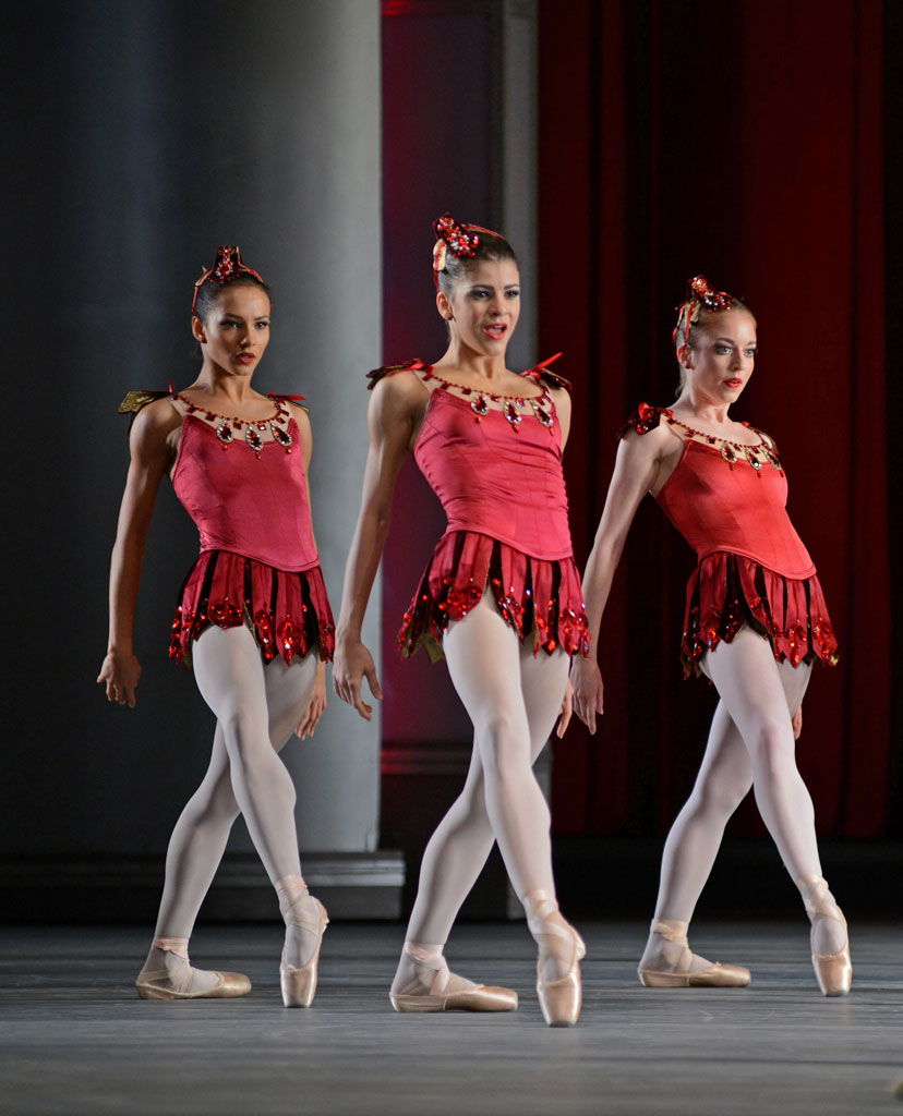 Francesca Hayward, Mayara Magri and Meaghan Grace Hinkis in Rubies, part of Jewels.© Dave Morgan, by kind permission of the Royal Opera House. (Click image for larger version)