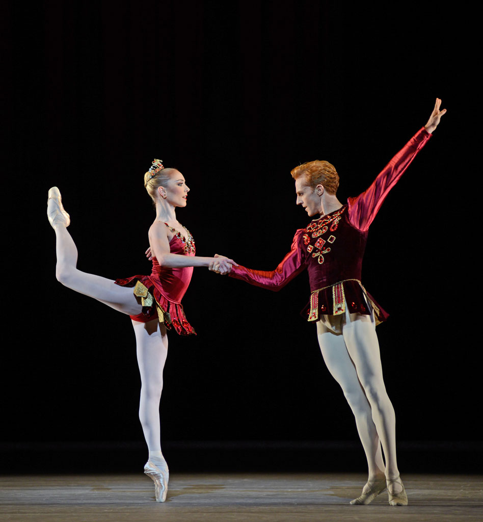 Sarah Lamb and Steven McRae in <I>Rubies</I>, part of <I>Jewels</I>.<br />© Dave Morgan, by kind permission of the Royal Opera House. (Click image for larger version)