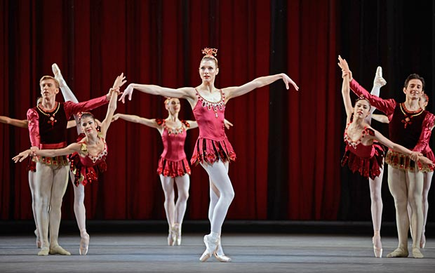 Zenaida Yanowsky in <I>Rubies</I>, part of <I>Jewels</I>.<br />© Dave Morgan, by kind permission of the Royal Opera House. (Click image for larger version)