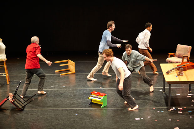 Scott Wells & Dancers in <i>Father On</i>.<br />© David Papas. (Click image for larger version)