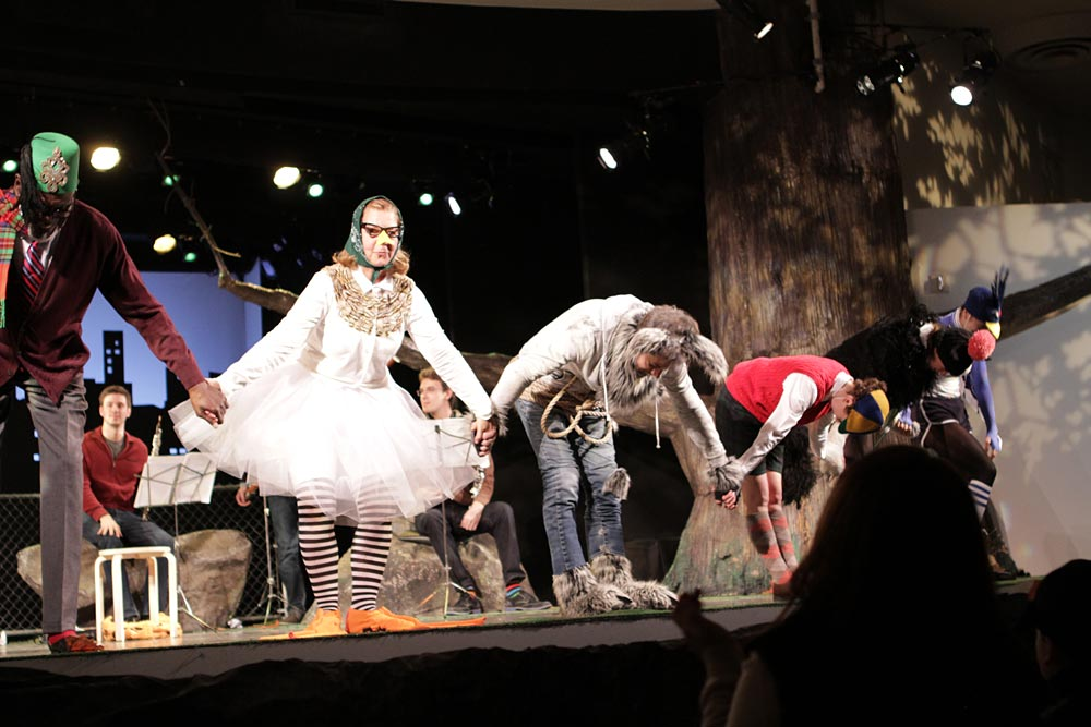 The cast of Peter and the Wolf, Maira Kalman is in the tutu.© Jacklyn Meduga. (Click image for larger version)