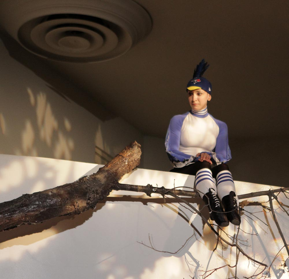 Jennifer Sydor, as the bird, in Peter and the Wolf.© Jacklyn Meduga. (Click image for larger version)