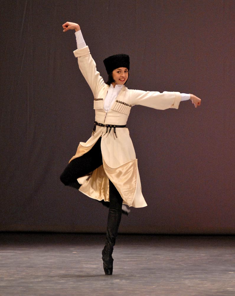 """Nina Ananiashvili is still dancing, here in <I>Khorumi male dance</I>, from the <a href=""""http://dancetabs.com/2012/04/nina-ananiashvili-30-years-on-stage-gala-tbilisi/"""">2012 gala celebrating her 30 years on stage</a>.<br />© Lado Vachnadze. (Click image for larger version)"""