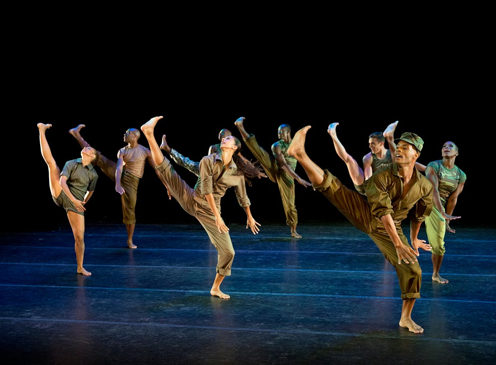 Alvin Ailey American Dance Theater in BIll T. Jones's <I>D-Man in the Waters (Part 1)</I>.<br />© Paul Kolnik. (Click image for larger version)