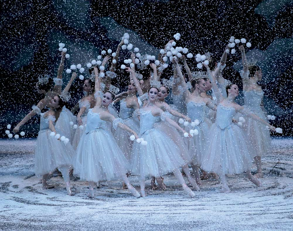 The Snowflakes in George Balanchine's <I>The Nutcracker</I>.<br />© Paul Kolnik. (Click image for larger version)