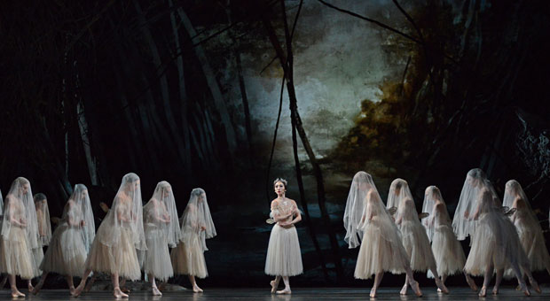 Hikaru Kobayashi and Wilis in Giselle.© Dave Morgan, courtesy the Royal Opera House. (Click image for larger version)