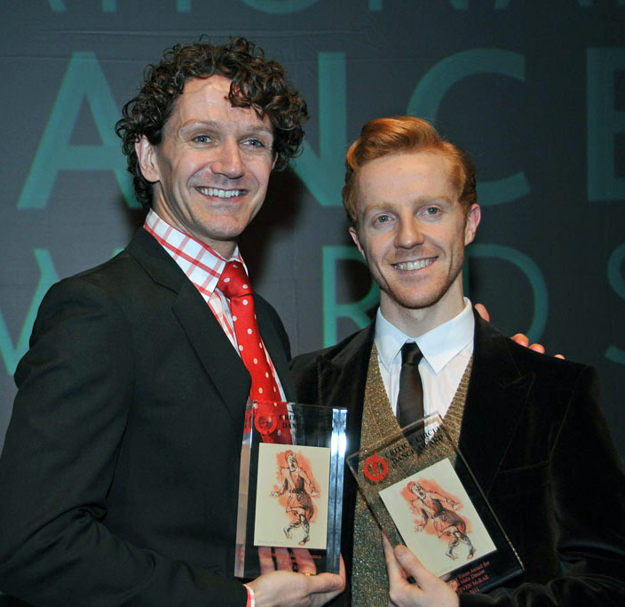 Steven McRae and Gary Avis at the 2011 UK National Dance Awards.<br />Respective winners of the Dancing Times Best Male Dancer award and Outstanding Male Performance award. © Dave Morgan.