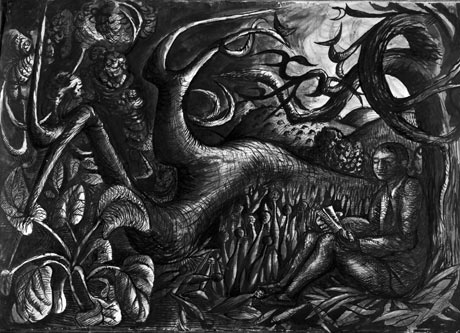 <I>Poet in Landscape</I>, by John Craxton, 1941. Ink and watercolour, 53.5 x 75 cm, Artist's Estate.<br />© Estate of John Craxton.