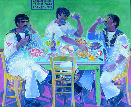 <I>Still Life with Three Sailors</I>, by John Craxton, 1980-85. Tempera on canvas, 122 x 151 cm, Private Collection.<br />© Estate of John Craxton.