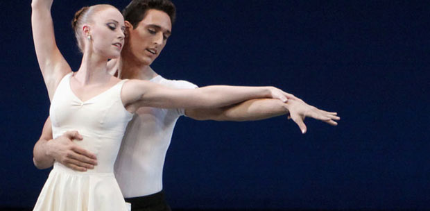 Justin Peck and Teresa Reichlen in George Balanchine's <I>Concerto Barocco</I>.<br />© Paul Kolnik. (Click image for larger version)