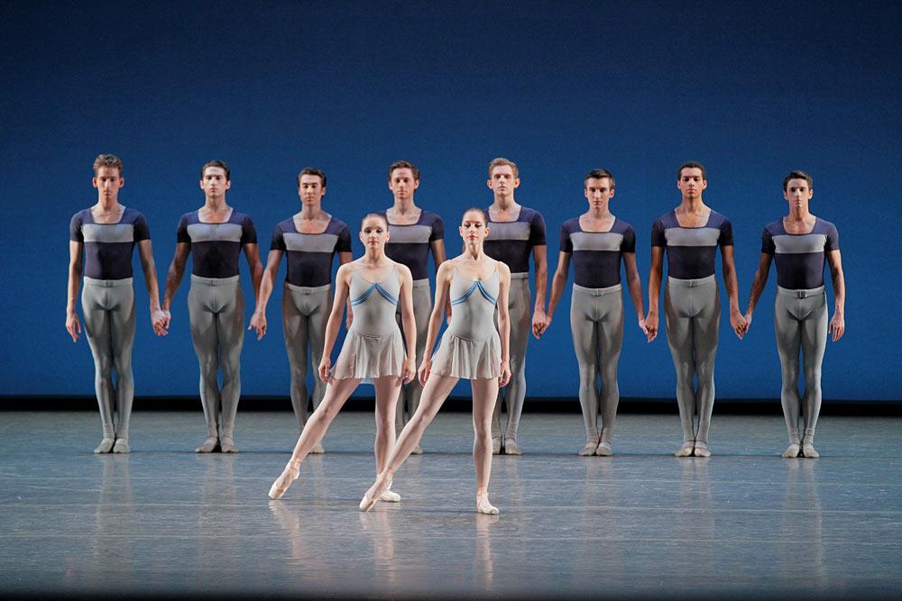 Abi Stafford and Rebecca Krohn in George Balanchine's <I>Kammermusik No. 2</I>.<br />© Paul Kolnik. (Click image for larger version)