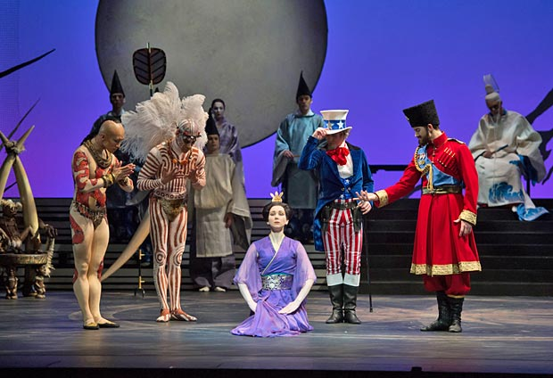 Elisha Willis (Empress Epine) with the Kings - Chi Cao (East), Tyrone Singleton (South), James Barton (West) and Mathias Dingman (North) in <I>The Prince of the Pagodas</I>.<br />© Bill Cooper. (Click image for larger version)