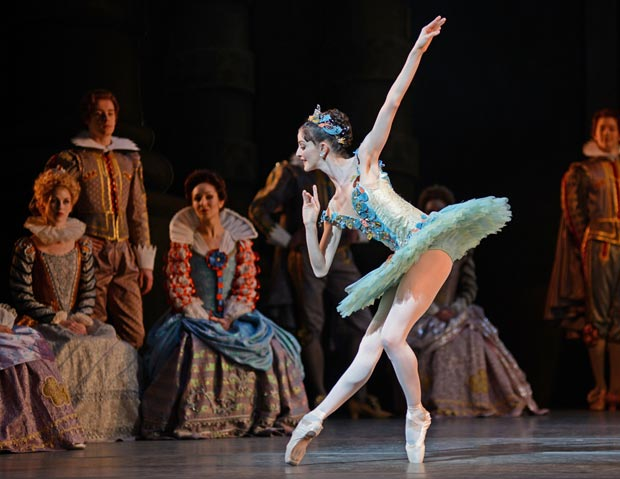 Olivia Cowley, Fairy of the Crystal Fountain, in <I>The Sleeping Beauty</I>.<br />© Dave Morgan, courtesy the Royal Opera House. (Click image for larger version)