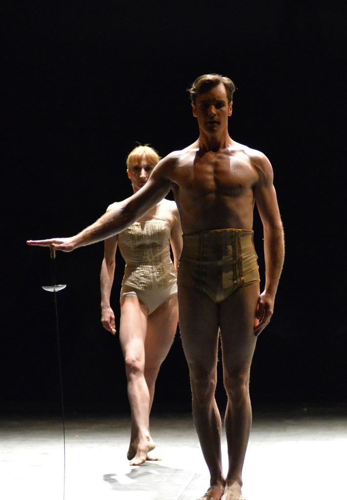 Daria Klimentova dancing with James Streeter in Jiri Kylian's <I>Petite Mort</I>.<br />© Dave Morgan. (Click image for larger version)