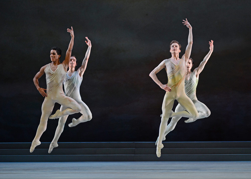 Marcelino Sambe, Sander Blonnaert, Donald Thom and Tristan Dyer in Rhapsody.© Dave Morgan, courtesy the Royal Opera House. (Click image for larger version)