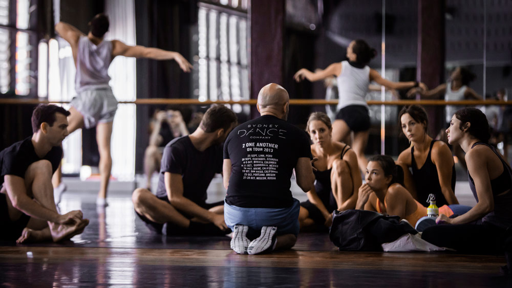 Rafael Bonachela and dancers in the studio at Sydney Dance Company.© Peter Grieg. (Click image for larger version)