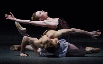 Sara Mearns and Adrian Danchig-Waring in Liam Scarlett's Acheron.© Paul Kolnik. (Click image for larger version)