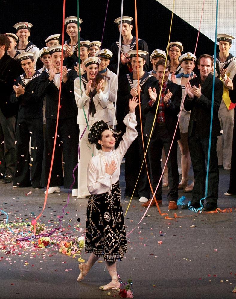 Jenifer Ringer, final curtain call after performing in <I>Union Jack</I>.<br />© Paul Kolnik. (Click image for larger version)
