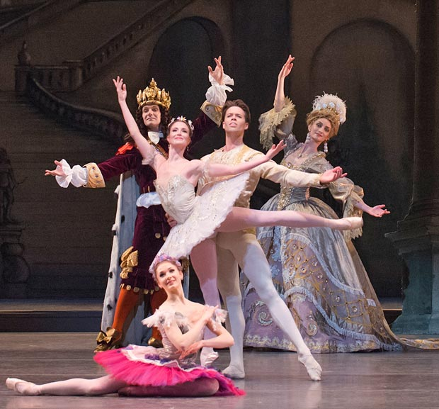 Lauren Cuthbertson as Princess Aurora, Matthew Golding as Prince Florimund, Melissa Hamilton as the Lilac Fairy, Gary Avis as King Florestan and Christina Arestis as His Queen.<br />© ROH / Tristram Kenton, 2014. (Click image for larger version)