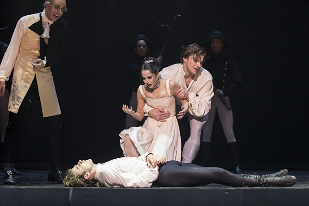Cedric Lambrette, Benjamin Buza, Alexandra Lo Sardo and Alban Lendorf in <I>Manon</I>.<br />© Costin Radu. (Click image for larger version)