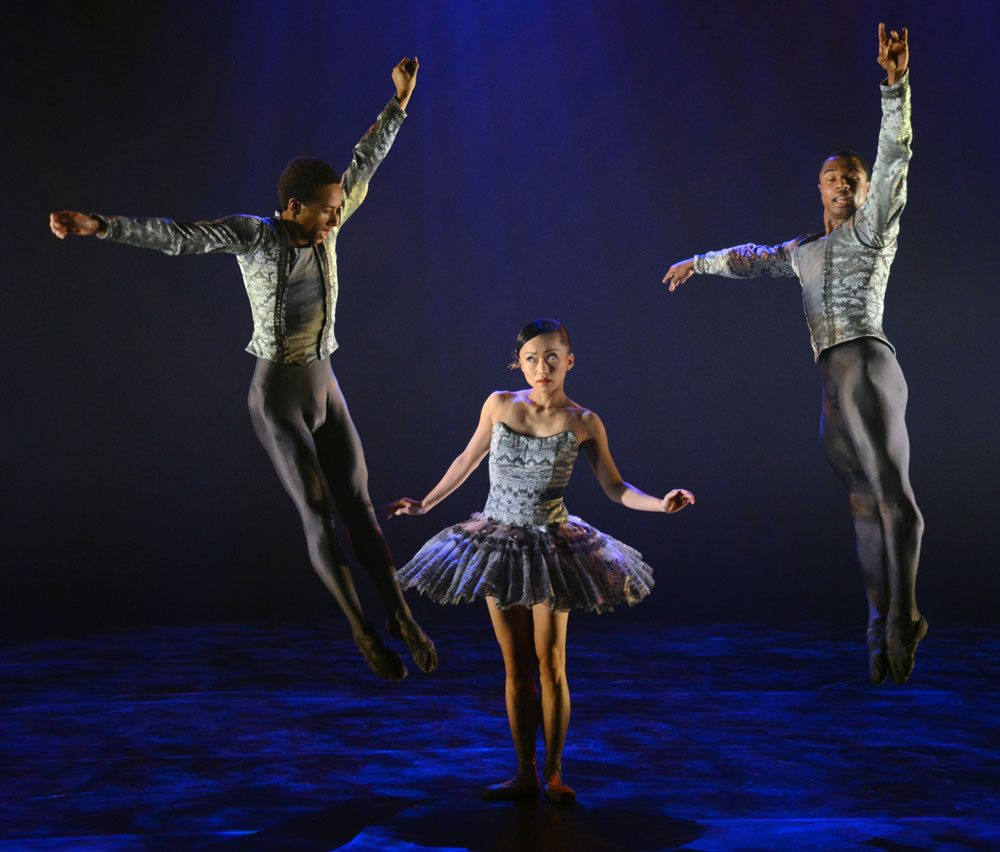 Jose Alves, Jacob Wye and Sayaka Ichikawa in <I>A Dream Within a Midsummer Night's Dream</I>.<br />© Dave Morgan. (Click image for larger version)