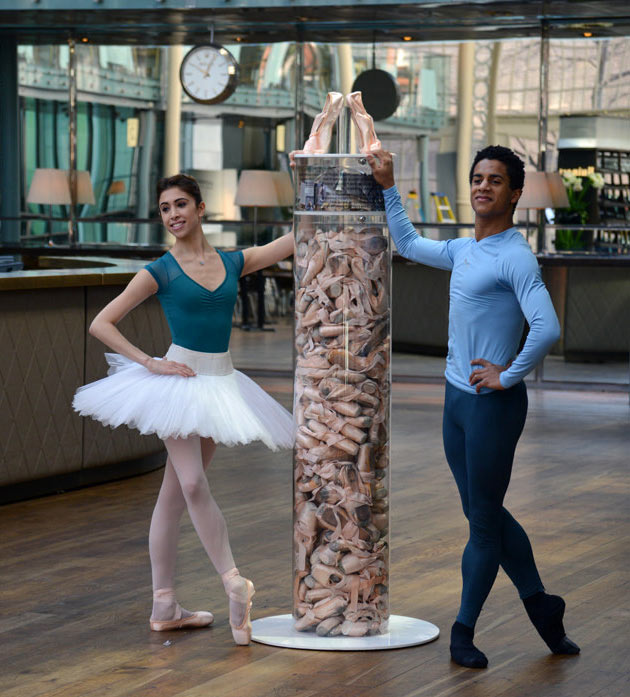 Yasmine Naghdi and Marcelino Sambé at the launch of The Royal Ballet Pointe Shoes Competition.<br />© Dave Morgan, courtesy the Royal Opera House. (Click image for larger version)