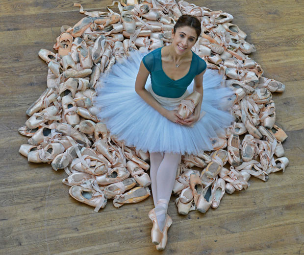 Yasmine Naghdi at the launch of The Royal Ballet Pointe Shoes Competition.<br />© Dave Morgan, courtesy the Royal Opera House. (Click image for larger version)