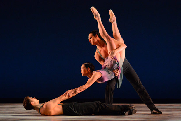Corey Landolt, Francesca Dugarte and Luis R. Torres in Christopher Wheeldon's There Where She Loved.© Paul Wegner. (Click image for larger version)
