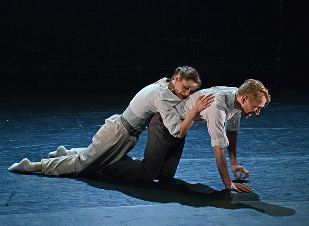 Clemmie Sveaas and Christopher Akrill in <I>Before the Interval</I>.<br />© Dave Morgan. (Click image for larger version)