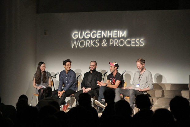 Works & Process talk at the Guggenheim: Ellen Barr, Justin Peck, Michael P. Atkinson, Sufjan Stevens and Karl Jensen.<br />© Jacklyn Meduga/Works & Process at the Guggenheim. (Click image for larger version)