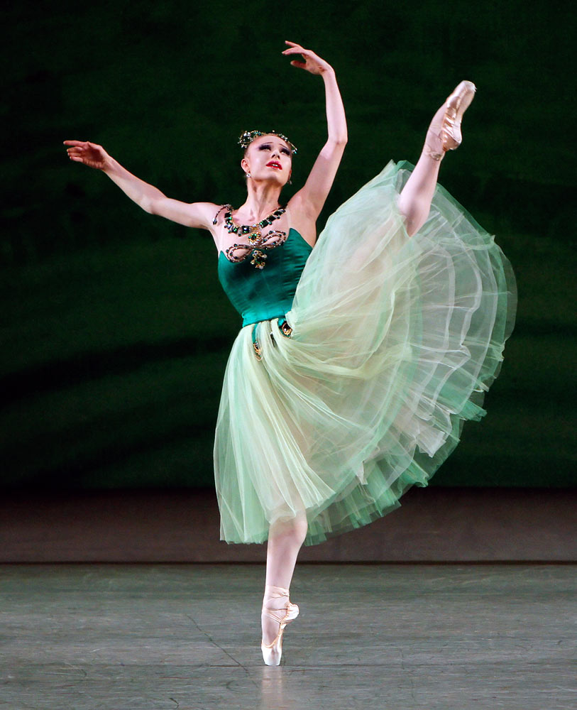 Sara Mearns in George Balanchine's <I>Emeralds</I> from <I>Jewels</I>.<br />© Paul Kolnik. (Click image for larger version)