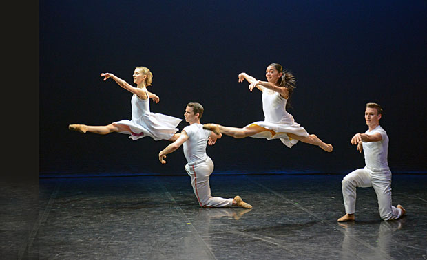 Antoinette Brooks-Daw, Rachael Gillespie, Jeremy Curnier and Matthew Topliss in Lar Lubovitch's <I>Concerto Six Twenty-Two</I>.<br />© Dave Morgan. (Click image for larger version)
