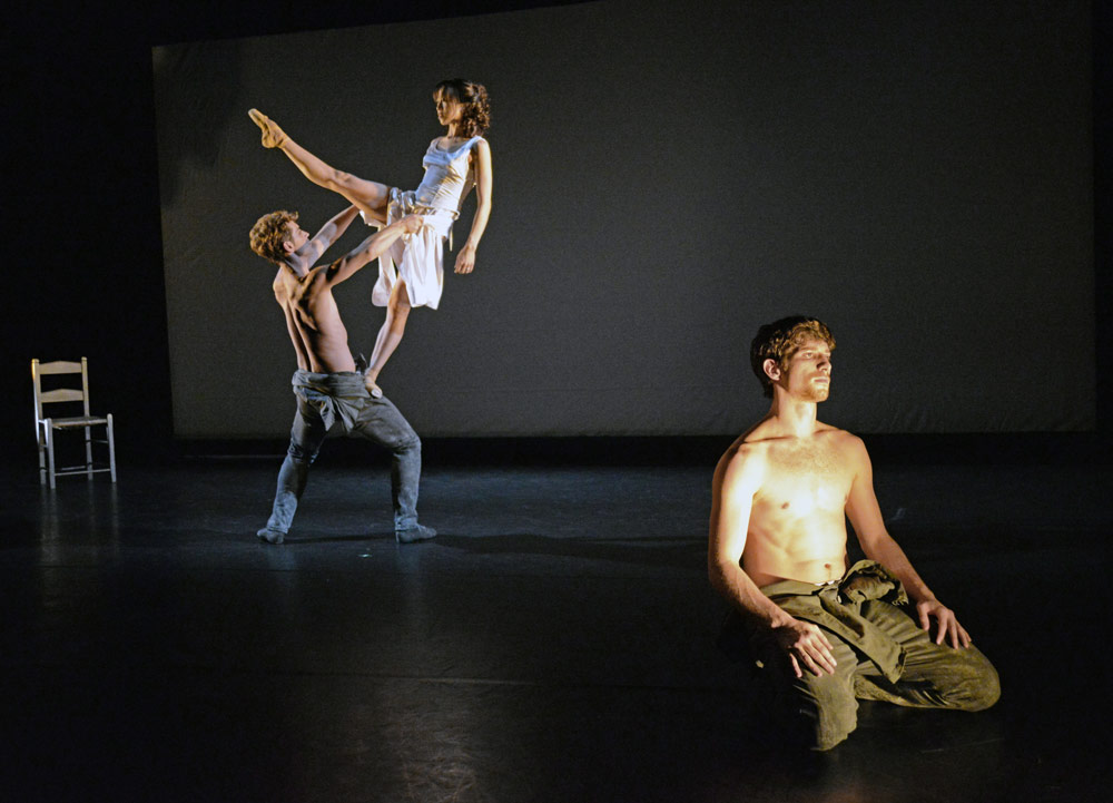 James Forbat, Erina Takahashi and Nathan Young in James Streeter's <I>In Living Memory...</I>.<br />© Dave Morgan. (Click image for larger version)