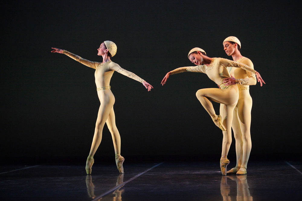 Ryoko Sadoshima, Samantha Benoit and Alex Harrison in Frederick Ashton's Monotones I.© Gene Schiavone. (Click image for larger version)