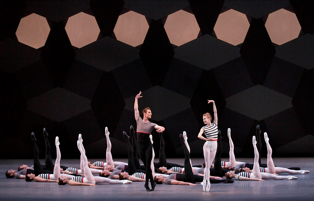 Andrew Veyette, Sterling Hyltin and Company in Justin Peck's Everywhere We Go.© Paul Kolnik. (Click image for larger version)