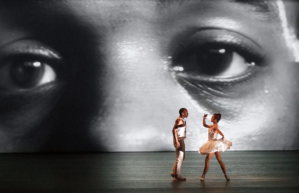 Lil Buck and Lauren Lovette in <I>Le Bousquets</I>.<br />© Paul Kolnik. (Click image for larger version)