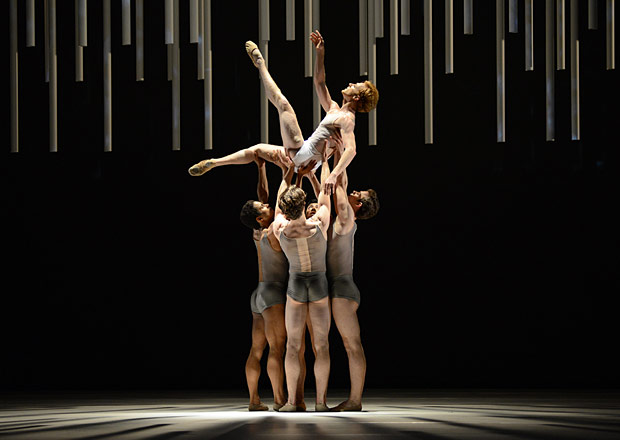 Steven McRae (with Marcelino Sambe, Matthew Ball, Luca Acri and Tomas Mock) in Alastair Marriott's <I>Connectome</I>.<br />© Dave Morgan, courtesy the Royal Opera House. (Click image for larger version)