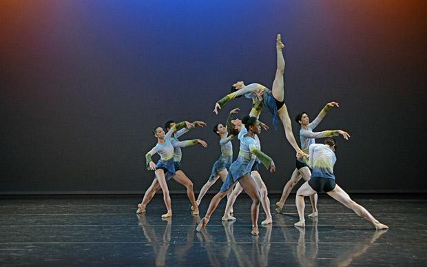 Junior Company in George Williamson's <I>Dawn Dances</I>.<br />© Dave Morgan. (Click image for larger version)