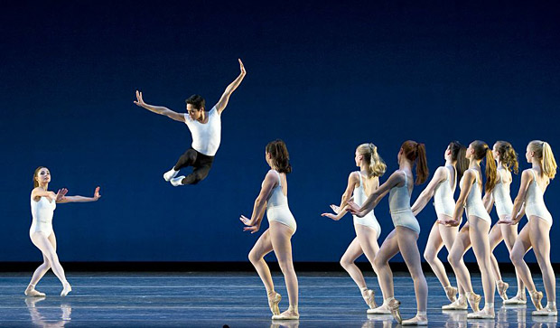 Boston Ballet in Balanchine's <I>Symphony in Three Movements</I>.<br />© Gene Schiavone. (Click image for larger version)
